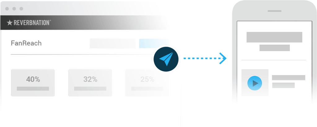 Illustration of FanReach user interface and an email recieved by a fan on mobile.