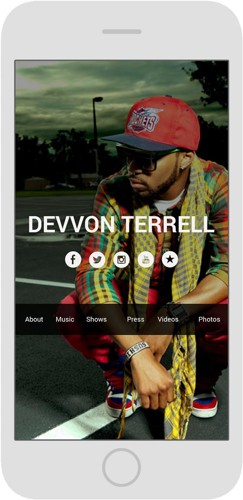 Sample of musician website on mobile.
