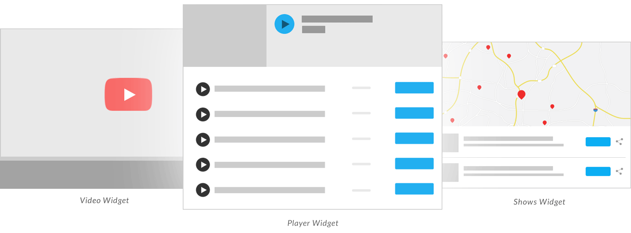 Example of video, player, and shows widgets.