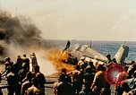 Image of wrecked planes and fire on USS Yorktown World War 2 Pacific Theater, 1944, second 44 stock footage video 65675021565