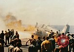 Image of wrecked planes and fire on USS Yorktown World War 2 Pacific Theater, 1944, second 49 stock footage video 65675021565