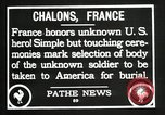 Image of first American Unknown Soldier selected in france France, 1921, second 39 stock footage video 65675021986