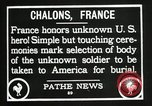 Image of first American Unknown Soldier selected in france France, 1921, second 47 stock footage video 65675021986