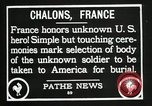 Image of first American Unknown Soldier selected in france France, 1921, second 50 stock footage video 65675021986