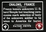 Image of first American Unknown Soldier selected in france France, 1921, second 51 stock footage video 65675021986