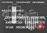 Image of U.S. World War I memorial monument presented to France Meaux France, 1932, second 6 stock footage video 65675030530