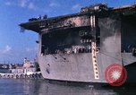 Image of USS Enterprise docked after fire Pearl Harbor Hawaii USA, 1969, second 53 stock footage video 65675031057