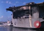 Image of USS Enterprise docked after fire Pearl Harbor Hawaii USA, 1969, second 55 stock footage video 65675031057