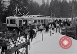 Image of Skiers load tram Europe, 1959, second 6 stock footage video 65675031123