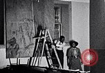 Image of Aaron Douglas and large painting New York City USA, 1937, second 17 stock footage video 65675032306