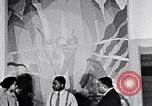 Image of Aaron Douglas and large painting New York City USA, 1937, second 29 stock footage video 65675032306
