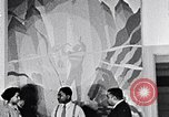 Image of Aaron Douglas and large painting New York City USA, 1937, second 30 stock footage video 65675032306