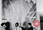 Image of Aaron Douglas and large painting New York City USA, 1937, second 31 stock footage video 65675032306