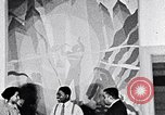 Image of Aaron Douglas and large painting New York City USA, 1937, second 32 stock footage video 65675032306