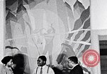 Image of Aaron Douglas and large painting New York City USA, 1937, second 33 stock footage video 65675032306