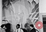 Image of Aaron Douglas and large painting New York City USA, 1937, second 35 stock footage video 65675032306