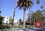 Image of Palm tree lined street in neighborhood Los Angeles California USA, 1976, second 31 stock footage video 65675033263