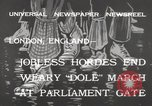 Image of British unemployed people march in protest United Kingdom, 1932, second 4 stock footage video 65675033280