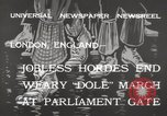 Image of British unemployed people march in protest United Kingdom, 1932, second 8 stock footage video 65675033280