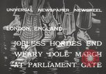 Image of British unemployed people march in protest United Kingdom, 1932, second 11 stock footage video 65675033280