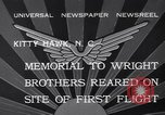 Image of Memorial to Wright Brothers erected Kitty Hawk North Carolina USA, 1932, second 4 stock footage video 65675040755