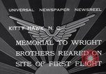 Image of Memorial to Wright Brothers erected Kitty Hawk North Carolina USA, 1932, second 5 stock footage video 65675040755