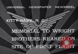 Image of Memorial to Wright Brothers erected Kitty Hawk North Carolina USA, 1932, second 6 stock footage video 65675040755