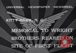 Image of Memorial to Wright Brothers erected Kitty Hawk North Carolina USA, 1932, second 7 stock footage video 65675040755