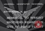 Image of Memorial to Wright Brothers erected Kitty Hawk North Carolina USA, 1932, second 9 stock footage video 65675040755