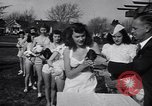 Image of chicken beauty pageant Petaluma California USA, 1947, second 37 stock footage video 65675040927