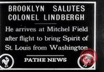 Image of Charles Lindbergh claims Orteig prize Brooklyn New York City USA, 1927, second 1 stock footage video 65675041074