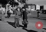 Image of German police officer directs traffic Berlin Germany, 1952, second 14 stock footage video 65675041180