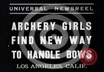 Image of Archery girls Los Angeles California USA, 1937, second 1 stock footage video 65675041450