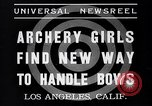 Image of Archery girls Los Angeles California USA, 1937, second 2 stock footage video 65675041450