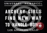 Image of Archery girls Los Angeles California USA, 1937, second 3 stock footage video 65675041450