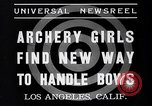 Image of Archery girls Los Angeles California USA, 1937, second 4 stock footage video 65675041450