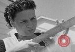 Image of Louella Gallagher knife throwing stunt Austin Texas USA, 1950, second 4 stock footage video 65675041468