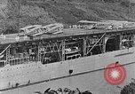 Image of The Aircraft Carriers USS Langley in Panama Canal and USS Saratoga bei Panama, 1925, second 19 stock footage video 65675041842