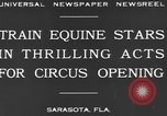 Image of Zebras and horses in circus Sarasota Florida USA, 1930, second 4 stock footage video 65675041973
