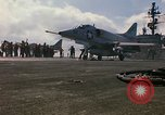Image of USS Constellation launching aircraft during Vietnam War Yankee Station Vietnam, 1967, second 31 stock footage video 65675042047