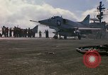 Image of USS Constellation launching aircraft during Vietnam War Yankee Station Vietnam, 1967, second 32 stock footage video 65675042047