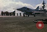 Image of USS Constellation launching aircraft during Vietnam War Yankee Station Vietnam, 1967, second 33 stock footage video 65675042047