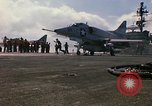 Image of USS Constellation launching aircraft during Vietnam War Yankee Station Vietnam, 1967, second 34 stock footage video 65675042047