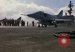 Image of USS Constellation launching aircraft during Vietnam War Yankee Station Vietnam, 1967, second 36 stock footage video 65675042047