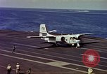 Image of Variety of  U.S. Navy aircraft landing on the USS Forrestal at sea Atlantic Ocean, 1959, second 39 stock footage video 65675042344