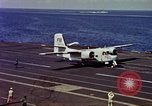 Image of Variety of  U.S. Navy aircraft landing on the USS Forrestal at sea Atlantic Ocean, 1959, second 40 stock footage video 65675042344