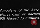 Image of aero science club monoplane Germany, 1922, second 2 stock footage video 65675042529