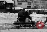 Image of shoveling snow Bludenz Austria, 1954, second 21 stock footage video 65675042927