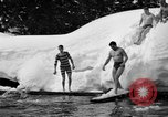 Image of bathers swim in icy water Oregon Mount Hood USA, 1938, second 32 stock footage video 65675043530