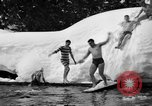 Image of bathers swim in icy water Oregon Mount Hood USA, 1938, second 33 stock footage video 65675043530